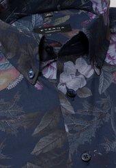 Eterna Langarm Hemd Comfort Fit Popeline Marine/bunt Bedruckt