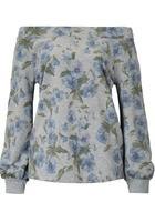 Sweatshirt, Mit Carmenausschnitt Und Floralem Muster