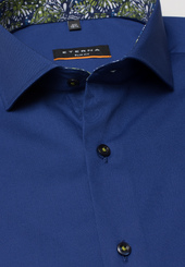 Eterna Kurzarm Hemd Slim Fit Stretch Marineblau Unifarben