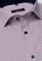 Eterna Langarm Hemd Modern Fit Popeline Blau/rot Bedruckt