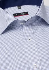 Eterna Kurzarm Hemd Modern Fit Popeline Blau/weiss Kariert