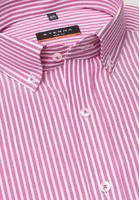 Eterna Kurzarm Hemd Slim Fit Oxford Pink/weiss Gestreift