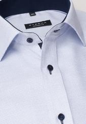 Eterna Langarm Hemd Comfort Fit Fantasiebindung Hellblau Strukturiert