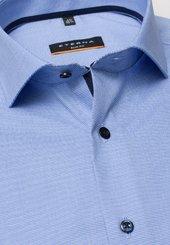 Eterna Langarm Hemd Slim Fit Stretch Hellblau Strukturiert