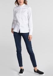 ETERNA Langarm Bluse Slim Fit Stretch Weiß Unifarben