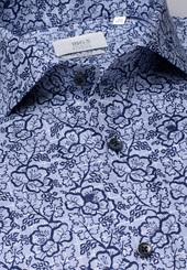Eterna Langarm Hemd Slim Fit Twill Marine/hellblau Bedruckt