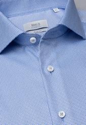 Eterna Langarm Hemd Slim Fit Fantasiebindung Hellblau Strukturiert
