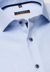Eterna Langarm Hemd Slim Fit Twill Hellblau/weiss Strukturiert