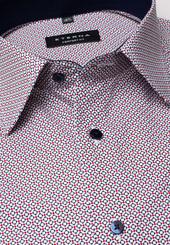 Eterna Langarm Hemd Comfort Fit Popeline Blau/rot Bedruckt