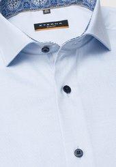 Eterna Kurzarm Hemd Slim Fit Pinpoint Hellblau Unifarben