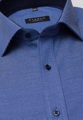 Eterna Langarm Hemd Comfort Fit NattÉ Blau Strukturiert