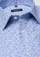 Eterna Langarm Hemd Comfort Fit Popeline Blau/hellblau Bedruckt