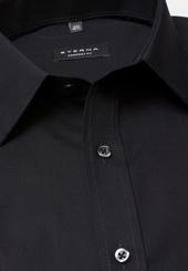 Eterna Langarm Hemd Comfort Fit Popeline Schwarz Unifarben