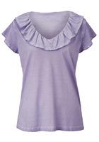 T-shirt, Mit Volant Am Ausschnitt, Kunstfaser