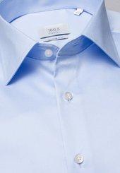 Eterna Langarm Hemd Comfort Fit Gentle Shirt Twill Hellblau Unifarben