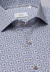 Eterna Langarm Hemd Modern Fit Popeline Blau/beige Bedruckt