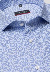 Eterna Kurzarm Hemd Modern Fit Popeline Blau/hellblau Bedruckt