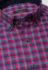Eterna Langarm Hemd Modern Fit Twill Rot/blau Kariert