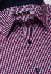 Eterna Langarm Hemd Modern Fit Bindungsaufleger Blau/pink Kariert