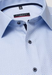 Eterna Kurzarm Hemd Modern Fit Twill Hellblau/weiss Strukturiert