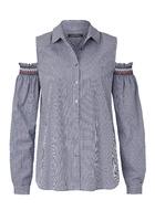 Bluse, Cut-outs Mit Kontrastierendem Elastikeinsatz