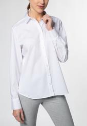 Eterna Langarm Bluse Modern Classic Stretch Weiss Unifarben