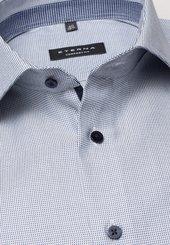 Eterna Langarm Hemd Comfort Fit Twill Blau/weiss Strukturiert