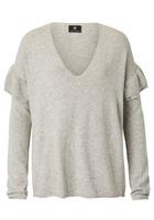 Pullover, Mit Rüsche Und Tiefem V-ausschnitt