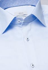 Eterna Langarm Hemd Modern Fit Gentle Shirt Twill Hellblau Unifarben