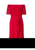 Kleid, Mit Lochstickerei Und Gürtel