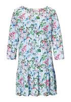 Kleid, Mit Streifen - Und Floralem Druck
