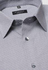 Eterna Langarm Hemd Comfort Fit Popeline Grau/weiss Bedruckt
