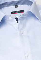 Eterna Langarm Hemd Modern Fit Twill Hellblau Strukturiert
