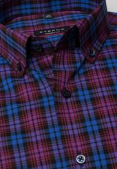 Eterna Langarm Hemd Modern Fit Popeline Blau/rot Kariert