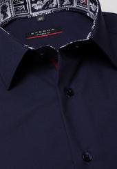 Eterna Langarm Hemd Modern Fit Chambray Marineblau Unifarben