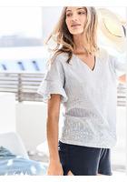 Pyjama-top, Mit Streifen Und Rüsche