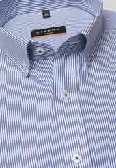 Eterna Kurzarm Hemd Slim Fit Oxford Blau/weiss Gestreift