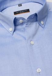 Eterna Langarm Hemd Slim Fit Pinpoint Mittelblau Unifarben