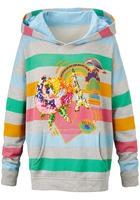 Sweat-hoodie, Mit Multicolor Ringel Und Applikation