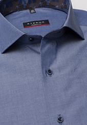 Eterna Langarm Hemd Modern Fit Chambray Jeansblau Unifarben