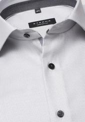 Eterna Langarm Hemd Comfort Fit Twill Grau Strukturiert