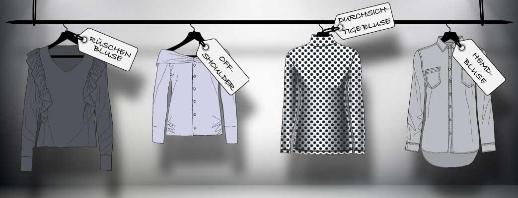 Forskellige bluser på bøjler i udstillingsvindue