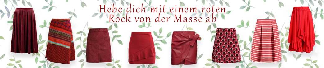 Røde nederdele med rød tekst på baggrund af grønne blade