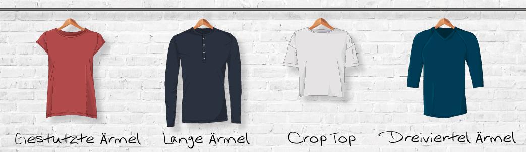 T-shirts med cap ærmer, lange ærmer, crop længde og 3/4 ærmer